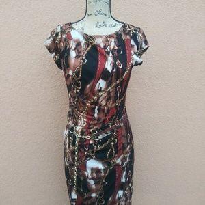 Cache Dress Chain Print 6 EUC